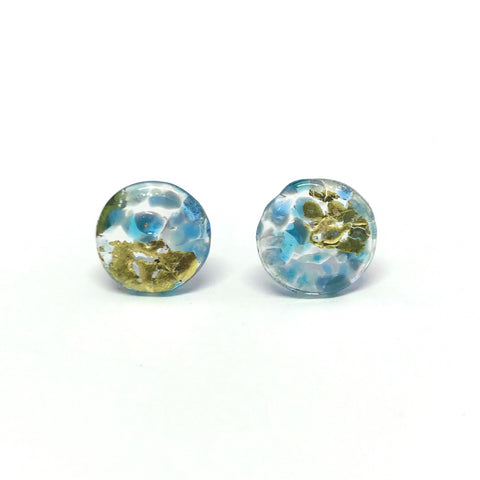 Glass and Gold Midi Mottled Stud Earrings, Newhaven
