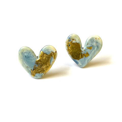 Enamel Glass and Gold Marble Heart Studs