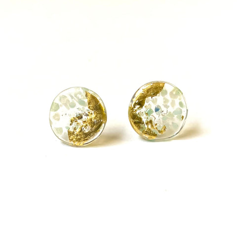 Glass and Gold Midi Mottled Stud Earrings, Frost