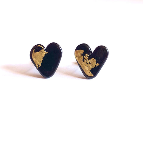 Black Gold Handmade Glass Heart Stud Earrings