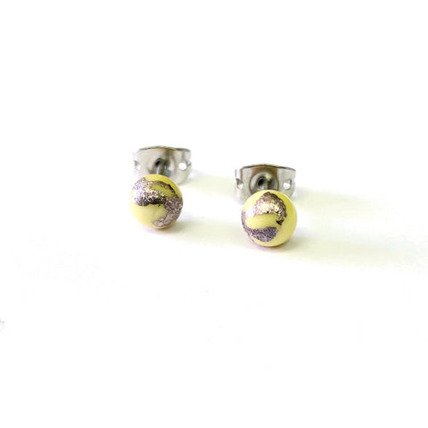 Citron Glass and Palladium Mini Studs