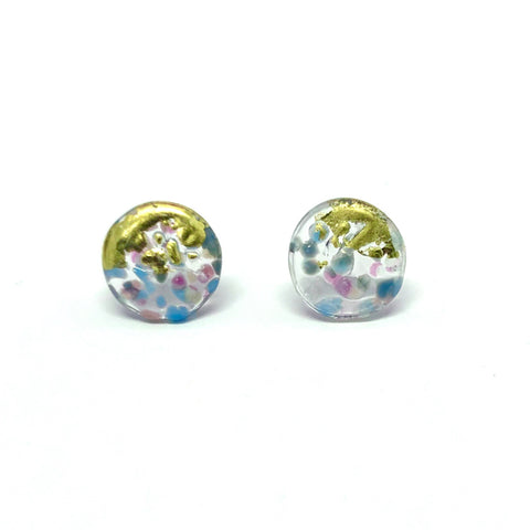 Glass and Gold Midi Mottled Stud Earrings, Skye