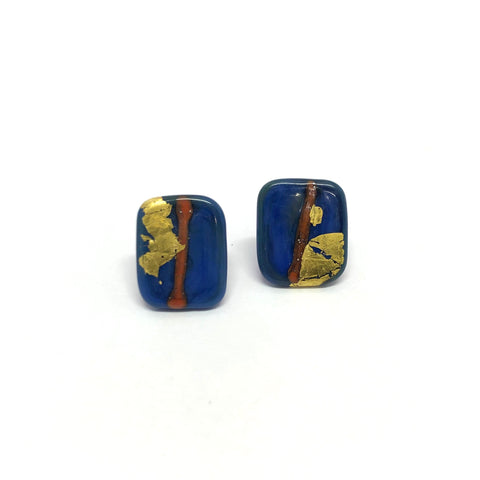 Ishikawa Handmade Glass Panel Stud Earrings