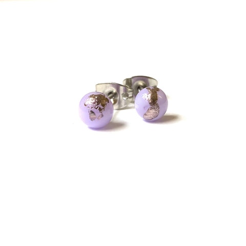 Lilac Glass and Palladium Mini Studs