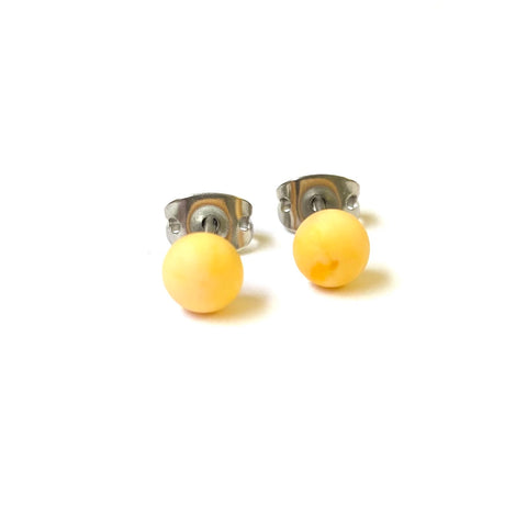 Frosted Lemon Handmade Glass Mini Stud Earrings