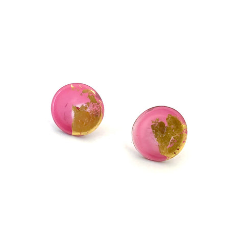 Gold Cranberry Handmade Lampwork Stud Earrings