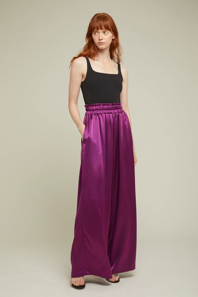 silk wide leg pants- aubergine