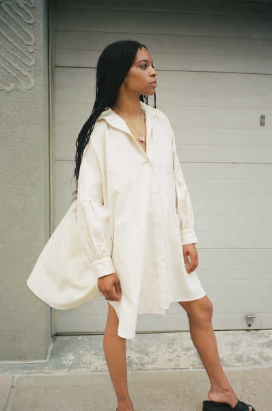 smock blouse in ivory