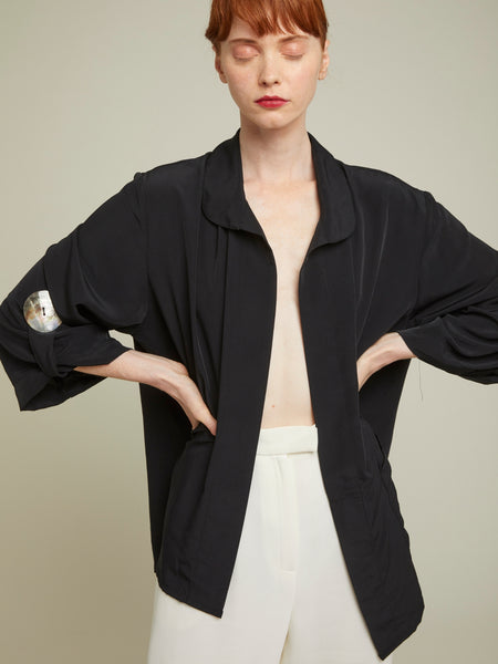 crepe de chine duster front image in black