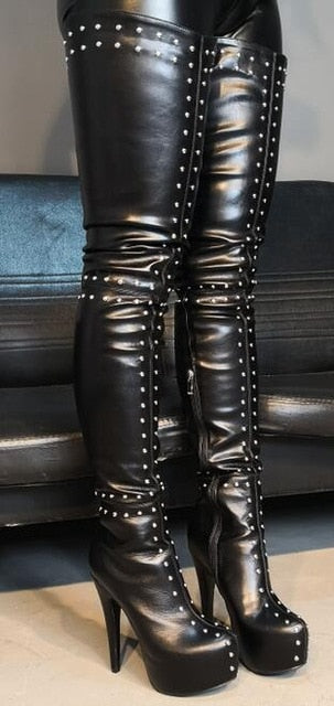 Xtremeasterx New Plus Big Size 35-52 Black Zip Rivets Sexy Thigh High Heel Over The Knee Platform Female Ladies Women Boot