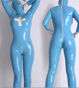 Xtrememasterx Latex Suit Rubber Gummy Nursing Catsuit Hood Full-body Bodysuit Tights Size XS~XXL