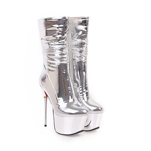 Xtrememasterx New Plus Big Size 32-43 Silver Zip Fashion Sexy 16CM High Heel Platform Females Lady Calf Women Boots