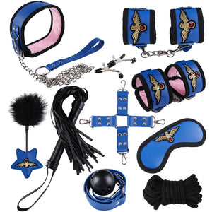 Xtrememasterx 10pcs/set BDSM Bondage Restraint Set Sex Handcuffs Whip Rope Not Vibration Adults Sex Toys for Couples Erotic Toys