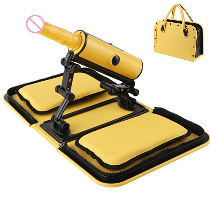 Portable Handbag Sex Machine Yellow Remote Control 3 Vibrations 3 Thrusting Automatic Heat Dildo Sex Love Guns for Women E5-1-18