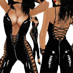Women Sexy Catsuit PVC Leather Ladies Sexy Latex Zipper Bodysuit Costume Erotic Lingerie Front to After Lace-up Clubwear
