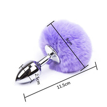Load image into Gallery viewer, 7 Color Small Size Metal Rabbit Tail Anal Plug Stainless Steel Bunny Tail Butt Plug Anal Sex Toys For Women Adult Sex Products