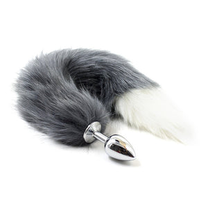 Stainless Steel Butt Anal Plug with Fox/Wolf Tail Female Pony Play Toys Puppies