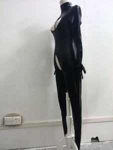 Sexy Women Catsuit Open Bust Bodysuit Cat Ladies Costume Open Crotch PVC Latex Catsuit Tight Fitting Jumpsuits Club Dance Wear