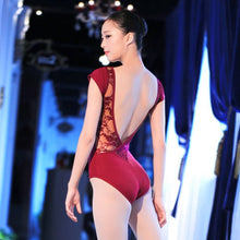 Load image into Gallery viewer, Lace Cotton Ballet Leotard Backless Women Ballet Dance Wear Girl Adult Dance Clothes Black Gymnastics Leotard Bodysuit