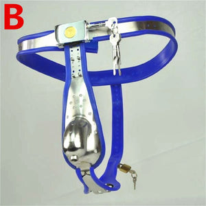 Male Chastity Belt Curve Waist Fully Adjustable Stainless Steel Chastity Belt With Penis Cage Anal Plug Sex Toy for Men