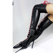 "Load image into Gallery viewer, Sexy Fetish 18,cm Heel Devious Spike Heel  Extreme 7"" High Heel Thigh High Lace Up Boots Latex Ballet High Heel Boots"
