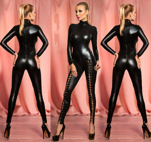 Erotic Women Role Play Club Wear Night Wear Sexy Black Faux Leather Latex Bodysuit New Fashion Night Club Cosplay Costumes