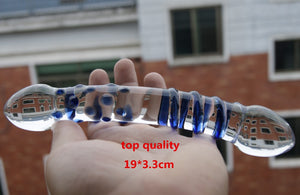 Double Headed Dildo Pyrex Glass Dildo crystal Fake Penis Anal Butt Plug Female Male Adult Masturbation Sex Toy For Women Men