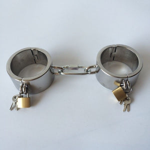 New Type Locking Stainless Steel Handcuffs BDSM Fetish Wrist Bondage Restraints Sex Toys Slave Hand Cuffs Torture Device