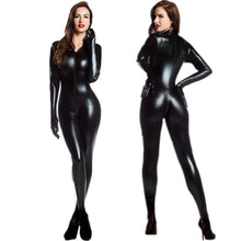 Load image into Gallery viewer, M-XXL Women 2 Way Zipper Faux Leather Catsuit Club Wear DS Latex Cat Women With Gloves Fancy Costume Jumpsuit Plus Size