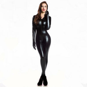 M-XXL Women 2 Way Zipper Faux Leather Catsuit Club Wear DS Latex Cat Women With Gloves Fancy Costume Jumpsuit Plus Size