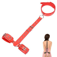 Load image into Gallery viewer, Leather Handcuff Adult Slave Game Handcuffs Neck Collar Fetish Bondage Women Erotic Sex Toy Wrist Strap Restraint Adult sex toys