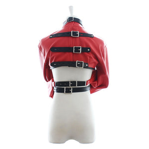 Male Female BDSM Fetish Red Leather Bondage Harness Cosplay Slave Restraints Sex Toys For Couples Adult Games Products