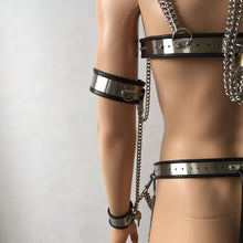 Load image into Gallery viewer, 8 in 1 Male Chastity Belt Stainless Whole Body Bondage,Male Chastity Belt,Collar,Chastity Bra,Handcuffs,Thigh Rings for Adult Toys