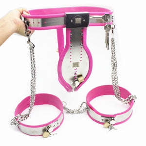 8 in 1 Male Chastity Belt Stainless Whole Body Bondage,Male Chastity Belt,Collar,Chastity Bra,Handcuffs,Thigh Rings for Adult Toys