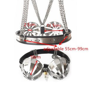 News Style Adjustable Stainless Steel Chastity Bra Bondage Bra Hollow Brassiere Breast Chastity Belt Sex Toys for Couples