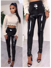 Load image into Gallery viewer, Winter Gothic Stretchy Shiny Wet Look PU Leather Leggings Women Black Slim Push Up Long Pants Ladies Sex Skinny Leggings
