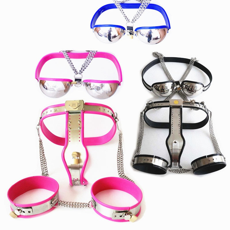 Stainless Steel Female Chastity Belt  Bra  Thigh Ring Slave Sex  Bandage Restraints Harness Fetish Strap On Sex Toy For Women