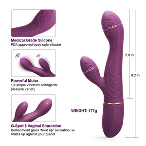 Curved G Spot Rabbit Vibrator Sex Toys For Woman Wireless 10 Speeds AV Magic Wand USB Charged Silicone Clit Stimulation