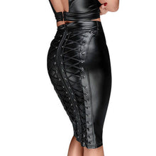 Load image into Gallery viewer, Xtrememasterx Sexy Women Lace Up Wetlook PU Leather Skirt Short Pencil Skirts Black Strappy Zipper Package Hip Skirt Vinyl Bondage Club Wear