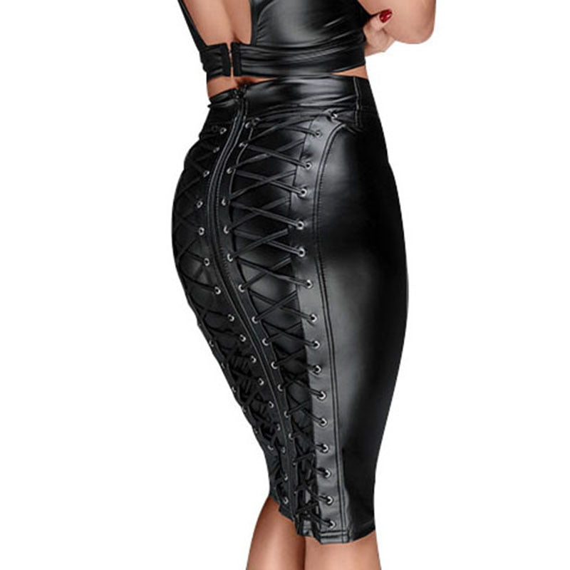 Xtrememasterx Sexy Women Lace Up Wetlook PU Leather Skirt Short Pencil Skirts Black Strappy Zipper Package Hip Skirt Vinyl Bondage Club Wear