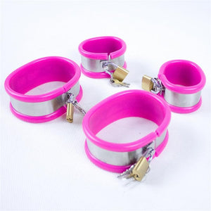 5in1 Stainless Steel Chastity Belts/Collar/Thigh Rings Female Underpants,Restraints Kits Chastity Bra Adult Toys for Women