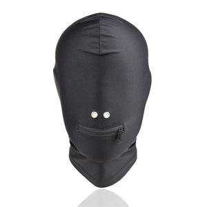 Black Restraint Mask Zipper Open Mouth Bondage Sexy Latex Hood Black Mask Breathable Headpiece Fetish BDSM Adult for Party