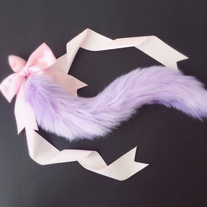 Runny 100% Handmade Lovely Soft Fox Tail Bow Silicone Butt Anal Plug Erotic Cosplay Accessories Adult Sex Toys for Couples