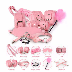 10 Pcs/Set Sexy Lingerie PU Leather BDSM  Bondage Set Sex Hand Cuffs Foot Cuff Whip Rope Blindfold Erotic Sex Toys For Couples