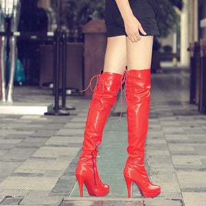 Over Knee Women Boots Sexy Fetish Dance Nightclub Party Shoes Extreme High Heel 11,CM Platform Zipper Women Boots Plus Size 34-43