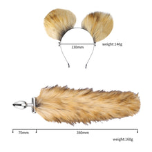 Load image into Gallery viewer, Cosplay Fox Tail Ears Set  No Vibrator Metal Anal Plug Fox Tail Deformable Fox Tail Butt Plug For Couples Flirting