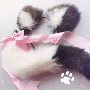 Cute Soft Cat Ears Headbands With Fox Tail Bow Metal Butt Anal Plug Erotic Cosplay Adult Sex Toys Product For Women