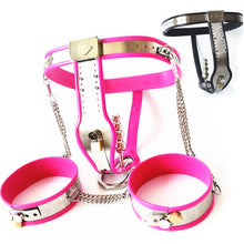 Load image into Gallery viewer, Stainless Steel Chastity Belts+Thigh Rings+Anal Plug Female Chastity Underpants Bondage Devices Sex Toys for Women G7-5-46B