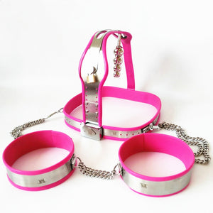 Stainless Steel Chastity Belts+Thigh Rings+Anal Plug Female Chastity Underpants Bondage Devices Sex Toys for Women G7-5-46B