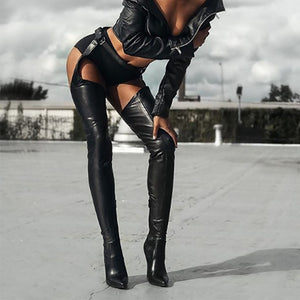 Xtrememasterx New Plus Big Size 35-47 Black Zip Buckle Fashion Sexy Thigh High Heel Over The Knee Ladies Women Boot